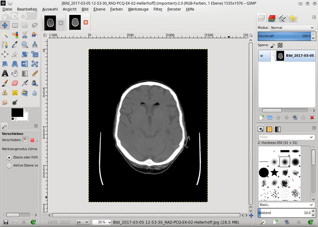GIMP mit geladenen Bildern